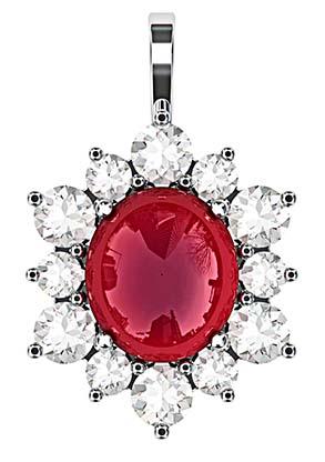 Cabochon Ruby with Diamond Petal Pendant 2 2