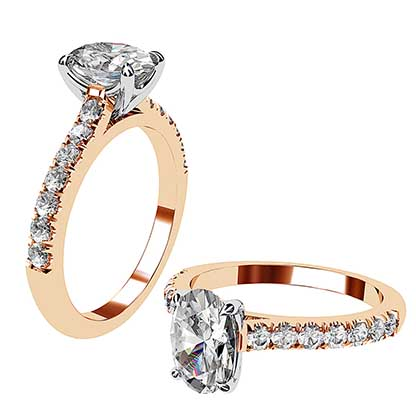 Clasic Oval and Diamond Solitaire Set in Rose Gold 1 2