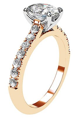 Clasic Oval and Diamond Solitaire Set in Rose Gold 4 2