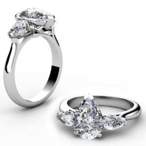 Classic Design Pear Shaped Three Stone Diamond Engagement Ring 1 2
