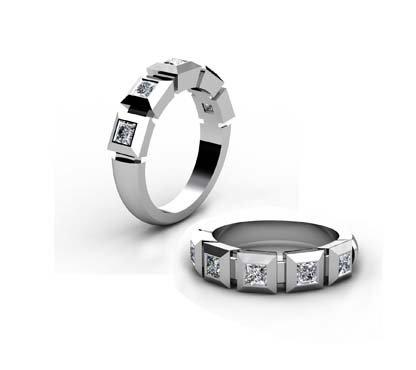 Contempory five stone princess cut diamond band 1
