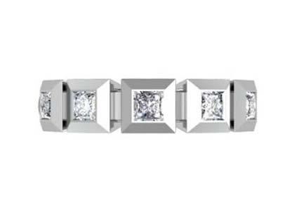 Contempory five stone princess cut diamond band 2