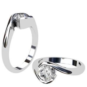 Cross Over Round Bezel Set Engagement Ring 1 2