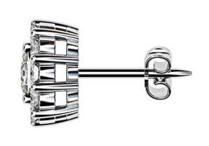 Cushion Cut Diamond Cluster Stud Earrings 4 2