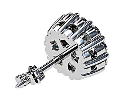 Cushion Cut Diamond Cluster Stud Earrings 5 2