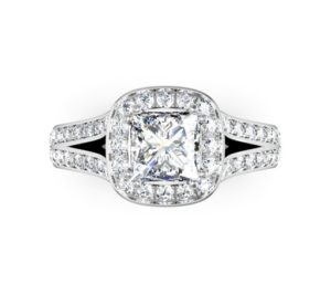 Cushion Cut Diamond Halo Engagement Ring with Split Bands 2 2