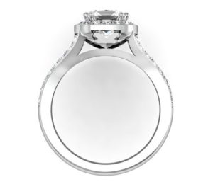 Cushion Cut Diamond Halo Engagement Ring with Split Bands 3 2
