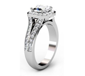 Cushion Cut Diamond Halo Engagement Ring with Split Bands 4 2