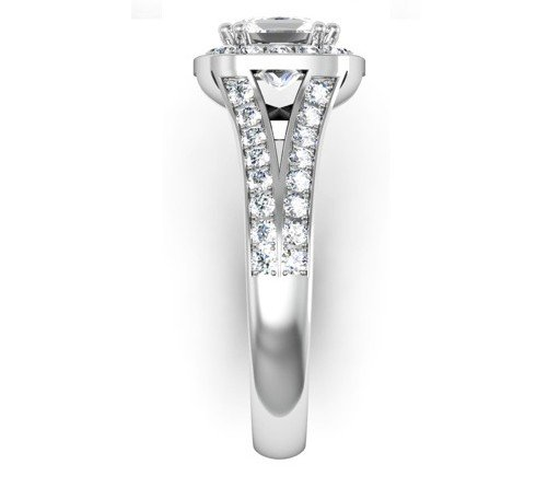 Cushion Cut Diamond Halo Engagement Ring with Split Bands 5 2