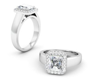 Cushion Cut Diamond Halo Engagement Ring with Wide Band 1 2