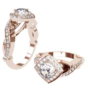 Cushion Cut Diamond Halo Rose Gold Engagement Ring with Infinity Band 1 2