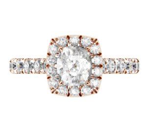 Cushion Cut Diamond Rose Gold Halo Engagement Ring 2 2