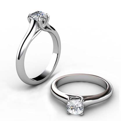 Cushion Cut Diamond Solitaire Engagement Ring with Crossed Claws 1 2