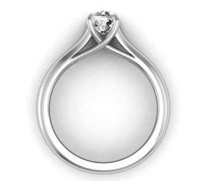 Cushion Cut Diamond Solitaire Engagement Ring with Crossed Claws 3 2