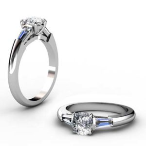 Cushion Cut Diamond Three Stone Engagement Ring 1 2