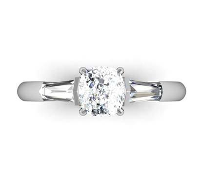 Cushion Cut Diamond Three Stone Engagement Ring 2 2