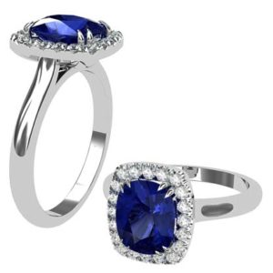 Cushion Cut Sapphire Halo Engagement Ring 1 1 2