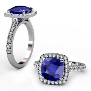 Cushion Cut Sapphire Halo Engagement Ring 1 3