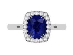 Cushion Cut Sapphire Halo Engagement Ring 2 1 2