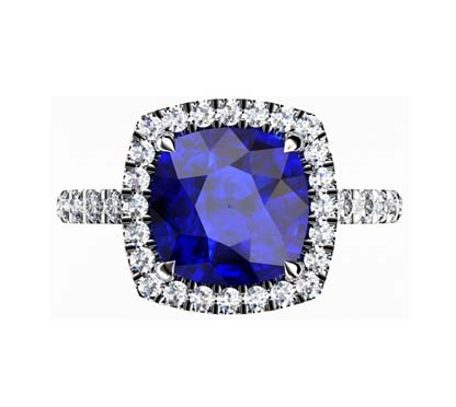 Cushion Cut Sapphire Halo Engagement Ring 2 3