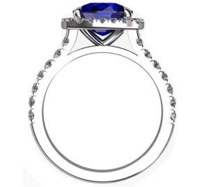 Cushion Cut Sapphire Halo Engagement Ring 3 3