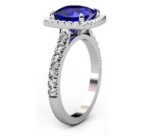 Cushion Cut Sapphire Halo Engagement Ring 4 3