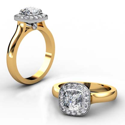 Cushion Cut Yellow Gold Halo Engagement Ring 1 2