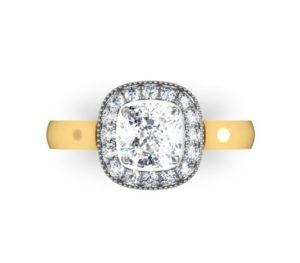 Cushion Cut Yellow Gold Halo Engagement Ring 2 2