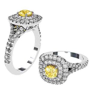 Cushion Yellow Diamond Ring with Double Halo 1 2