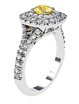 Cushion Yellow Diamond Ring with Double Halo 4 2