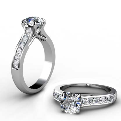 Custom Made Round Brilliant Cut Diamond Engagement Ring with Crossed Prongs 1 2