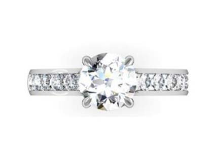 Custom Made Round Brilliant Cut Diamond Engagement Ring with Crossed Prongs 2 2