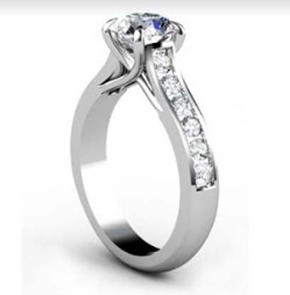 Custom Made Round Brilliant Cut Diamond Engagement Ring with Crossed Prongs 4 2