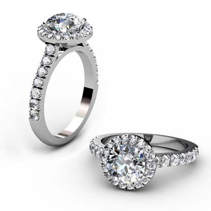 Custom Made Round Brilliant Cut Diamond Halo Engagement Ring 1 2