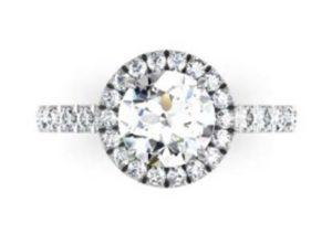 Custom Made Round Brilliant Cut Diamond Halo Engagement Ring 2 2