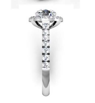 Custom Made Round Brilliant Cut Diamond Halo Engagement Ring 5 2