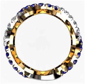 Custom designed Woven Sapphire and Diamond Wedding Ring 3
