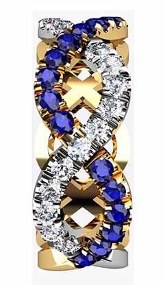 Custom designed Woven Sapphire and Diamond Wedding Ring 5