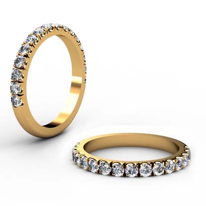 Cut Down Diamond Half Eternity Wedding Ring in Yellow Gold 1