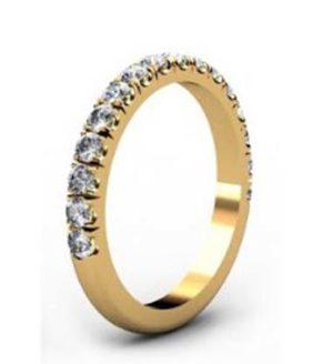 Cut Down Diamond Half Eternity Wedding Ring in Yellow Gold 4