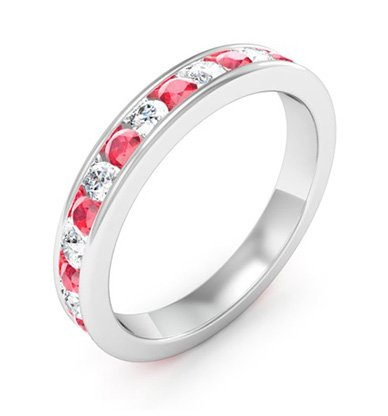 Diamond and Ruby Channel Set Ring 3 2