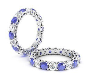 Diamond and Sapphire Claw Set Ring 1 2