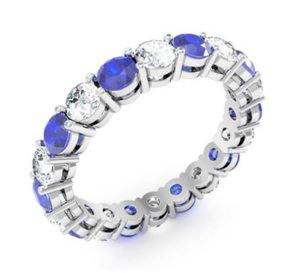 Diamond and Sapphire Claw Set Ring 3 2