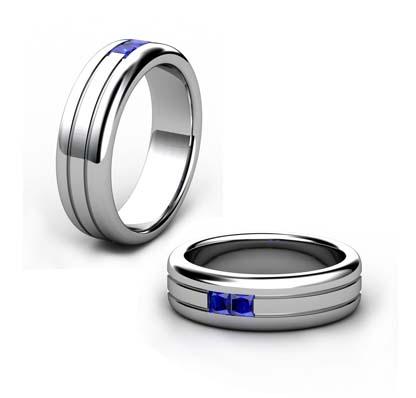 Double Carre Cut Sapphire Mens Platinum Ring 1