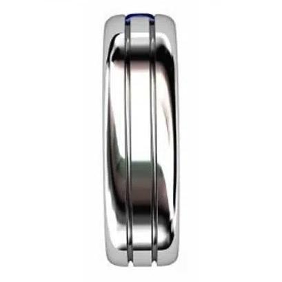 Double Carre Cut Sapphire Mens Platinum Ring 2