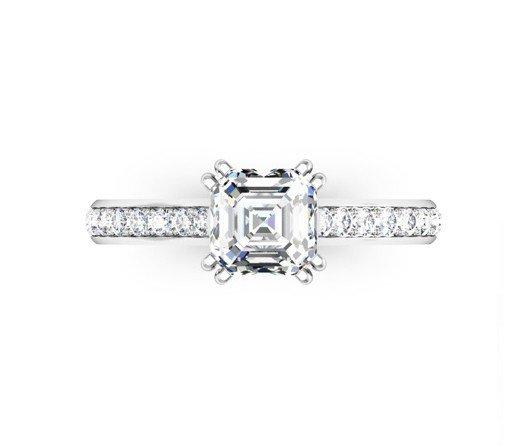 Double Claw Asscher Cut Diamond Engagement Ring 2 2