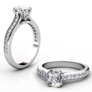 Double Prong Cushion Cut Diamond Engagement Ring with Channel Set Diamond Half Band 1 1