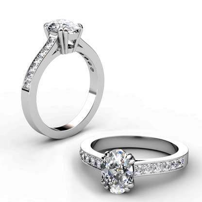 Double Prong Custom Made Oval Shaped Diamond Engagement Ring 1 2
