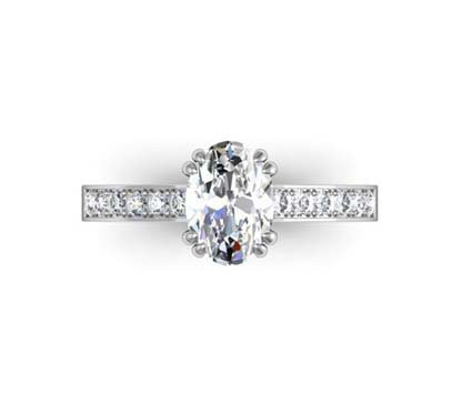 Double Prong Custom Made Oval Shaped Diamond Engagement Ring 2 2