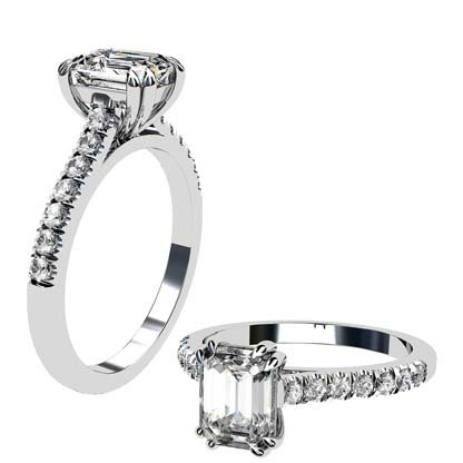 Double Prong Emerald Cut Diamond Engagement Ring 1 1